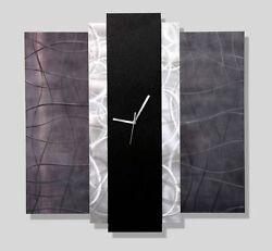 Statements2000 Modern Metal Art Wall Clock Black Silver Jon Allen Time Eternal