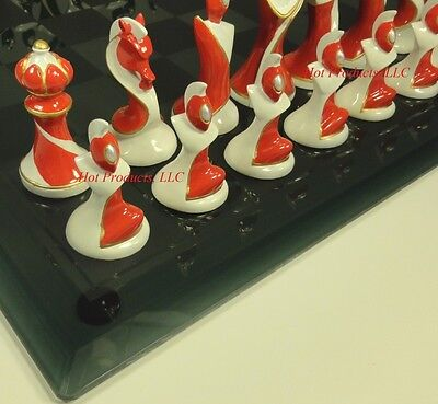 "MODERN ART DECO Chess Set W/ Smoked Glass BOARD 15"" Contemporary"
