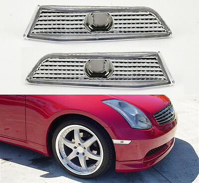 (Euro Clear Front Side Bumper Marker Lights For Infiniti G35 2dr Coupe 2003-2007)