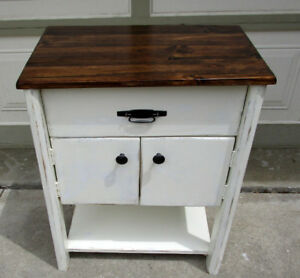 SHABBY CHIC 2 TONE HANDCRAFTED SOLID WOOD TABLE/CABINET