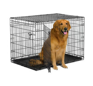 "New World 42"" Double Door Folding Metal Dog Crate"