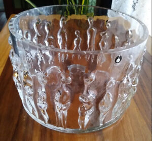 Art Crystal Bowl, Pukerberg, Sweden, Nude Ladies