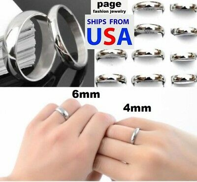 Traditional Silver Wedding Ring 4mm/6mm Band Stainless Steel All Sizes $3.99 !! 4mm Traditional Wedding Band Ring