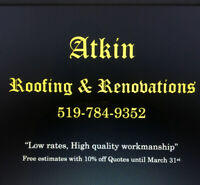Roofing & Renovations.  Big & small Jobs.  17 years experience