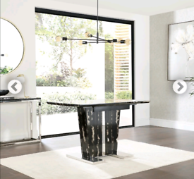 Vienna Black Marble 120-160cm Extending Dining Table