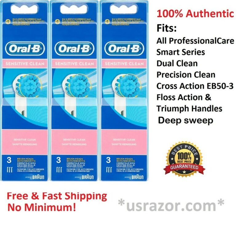 9 Oral B Sensitive Brush Heads Toothbrush extra soft Braun OralB Replacement New