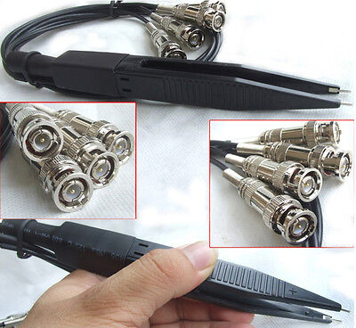 4 Sets Kelvin Clips Ic Smt Smd Test Clip Tweezers For 4 Bnc Test Wires Lcr Meter
