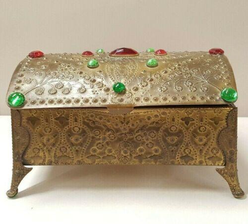 ANTIQUE ORMOLU LA TAUSCA PEARLS JEWELED PRESENTATION DOMED JEWELRY BOX CASKET