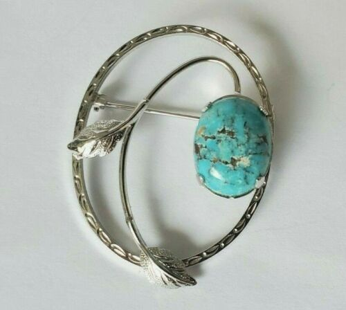 Modern Sterling Silver Dry Creek Turquoise Brooch Pin Signed W