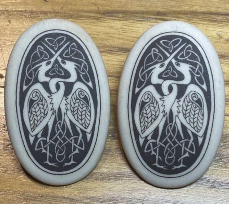 Porcelain Celtic Art Egret Crane Earrings Nova Scotia