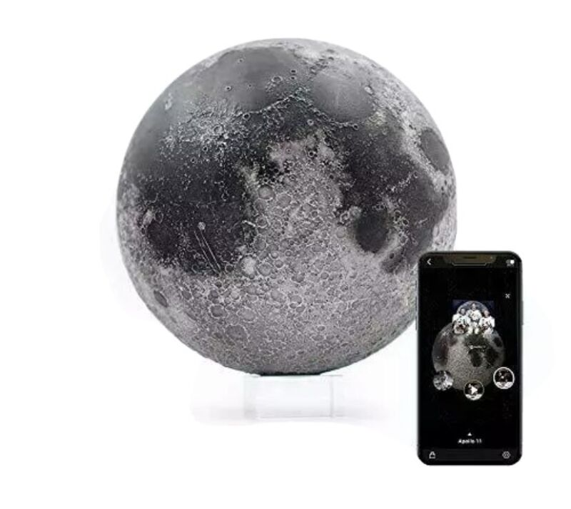 AstroReality: LUNAR Pro Smart Moon Globe, Augmented Reality App, 3D Printed NEW