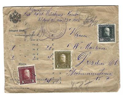 Österreich - Wertbrief - Feldpost(amt) 96 - 16.Feldkompanie - gel 1916  Dresden