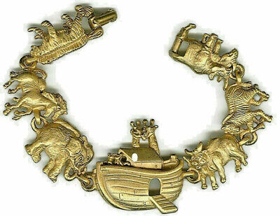 noahs ark bracelet NWT tigers horses elephants zebras bronze designer jewelry