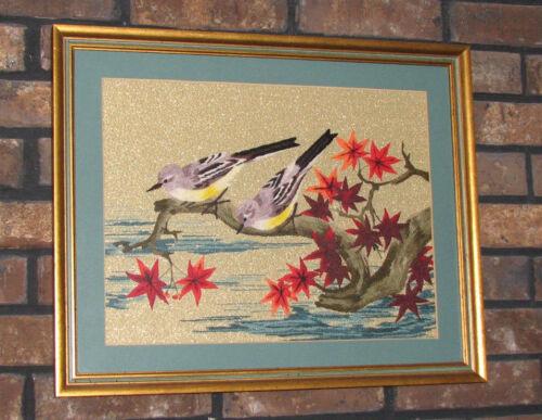 JAPANESE BUNKA EMBROIDERY Birds on Gold Metallic Background, framed