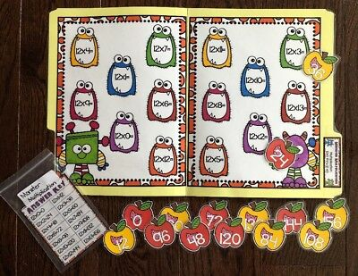 Multiplication 12 Facts Math File Folder Games Centers Activity Resource Third
