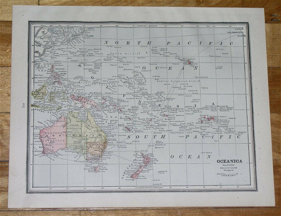 1890 ANTIQUE MAP OF OCEANIA GERMAN COLONIES AUSTRALIA HAWAII GUAM PACIFIC