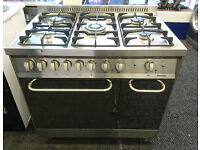 b060 stainless steel baumatic 90cm 5 burner dual fuel cooker comes with warranty can be delivered