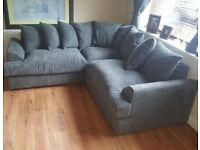 😍NEW CHARCOAL GREY DYLAN JUMBO CORD 3+2 SEATER CORNER SOFA SET - 2 MAN FAST DELIVERY😍