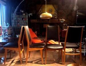 Set of 4 Mid Century Modern Danish Teak Chairs High Back REUPHOLSTERED with floating seats - $150 each