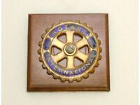 Car Badge - Rotary International on wood Plaque. Part of a large set of Automobilia for sale.