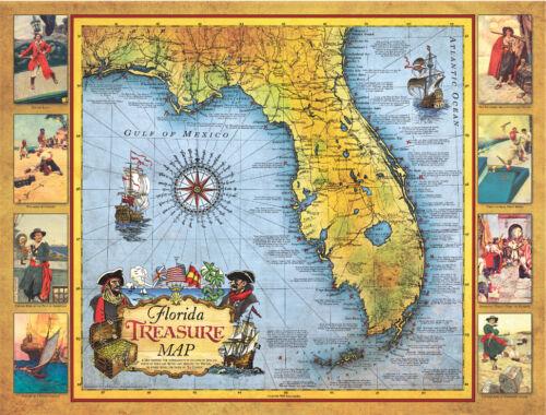 Florida Treasure Map Poster includes ship wreck sites