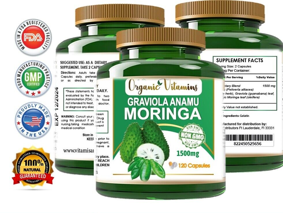 Moringa Oleifera Organic, Natural, 100% Pure Pills - 120 Count - 1 Pack  3