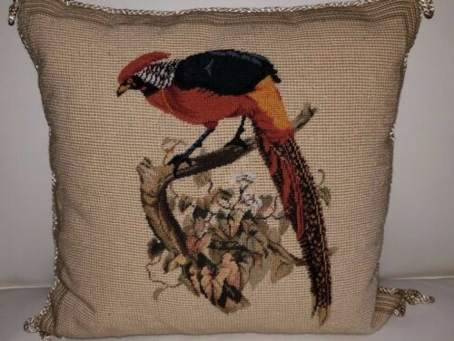 Needlepoint Pillow with Pheasant, Colors of Tan, Sage-Green, and Shades of Rust