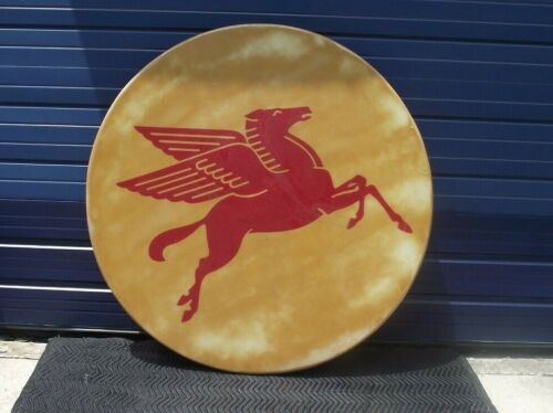 "Mobil Oil Original Pegasus Plastic Sign Light Cover 59"" Diameter Vintage"