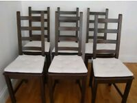 6 Ikea Kausby Solid Wood High Ladder Back Chairs Black / Brown FREE DELIVERY 057