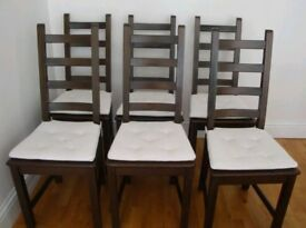 6 Ikea Kausby Solid Wood High Ladder Back Chairs Black / Brown FREE DELIVERY 865