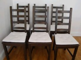 6 Ikea Kausby Solid Wood High Ladder Back Chairs Black / Brown FREE DELIVERY 962