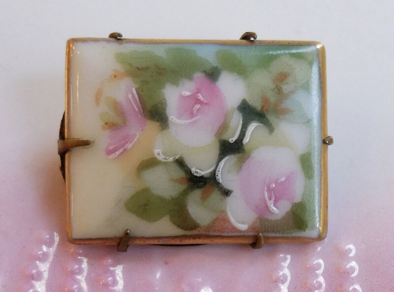 Antique Vintage Hand Painted Pink Roses on Porcelain Pin Brooch
