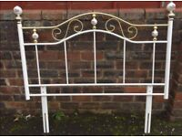 Double Bed Headboard, White and Gold with small floral design