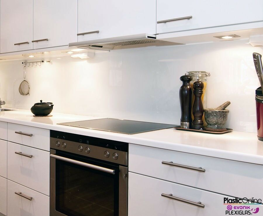 White Plastic Perspex Acrylic Kitchen Bathroom Splashback