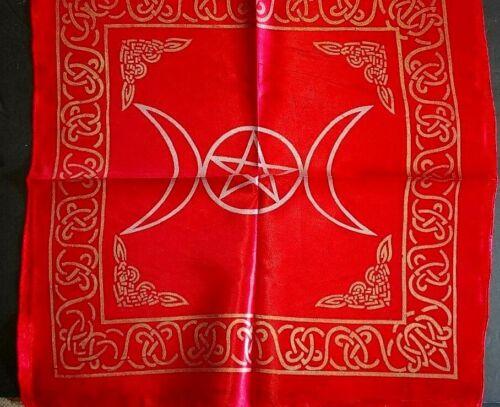 "21"" X 21"" Red & Gold Triple Moon Pentacle / Pentagram-Altar/Tarot Cloth"