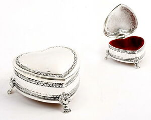 Silver plated Heart trinket box FREE ENGRAVING (wy312a)