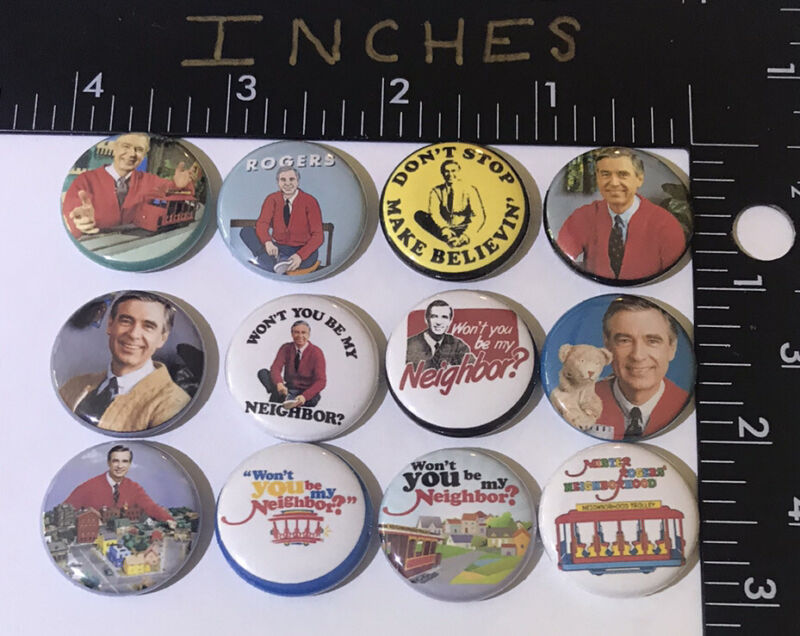 Mister Rogers 12 pins Set Pin You Be My Neighbor Trolley No Stop Make Believe Mr