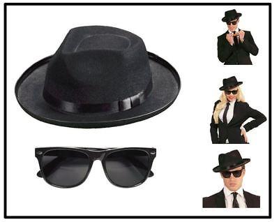 Blues Brothers Hut & Brille Gängster Mafia Verbrecher Karneval Fasching, - Blues Brothers Kostüm Hut