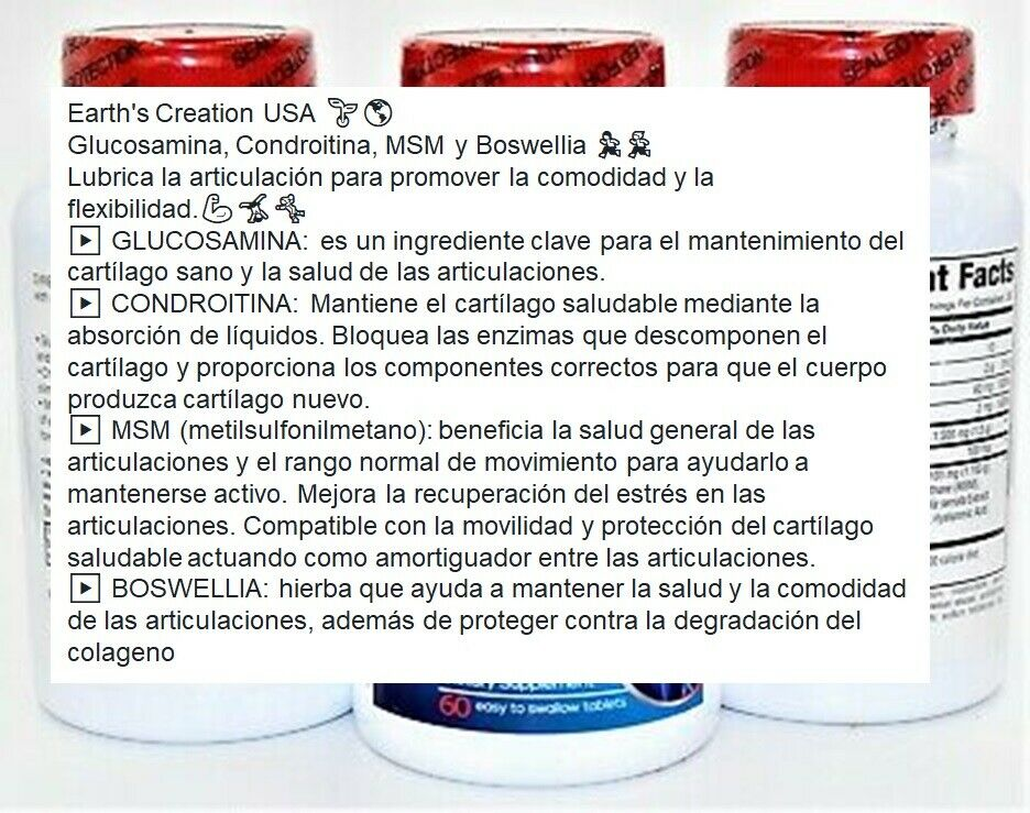 Colageno Glucosamina Y Condroitina  Acido Hialuronico Alivia Articulaciones HG 3