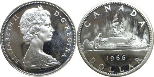1966 Canada $1 Voyageur Silver Dollar Uncirculated .800 Fine KM# 64.1 #004
