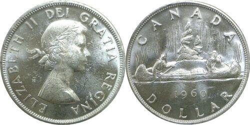 1960 Canada $1 Silver Dollar KM# 54 Uncirculated .800 Fine Silver #005