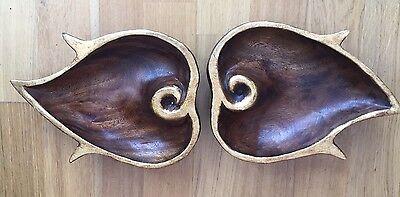 Vintage Hand Carved Wooden Trays, Carved Leaf Shape/design