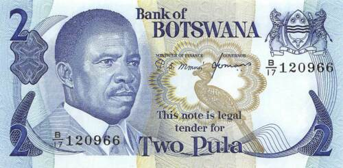 Botswana  2 Pula ND.1976  P 7c  Series B/17 Sign. # 5 Uncirculated Banknote Af25