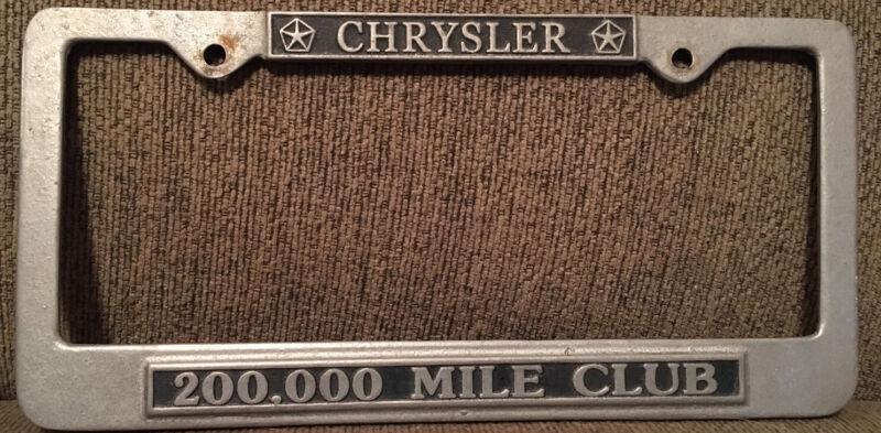 Chrysler 200,000 Mile Club Pewtarex License Plate Frame Cover Mopar 300 Used