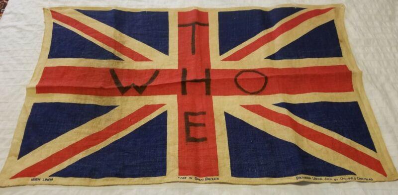 """Vintage The Who Union Jack flag tour memorabilia 28.5""""x18.5"""""""