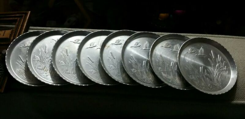 Vintage aluminum GEESE AND COUNTRYSIDE COASTERS, set of 8, silver color