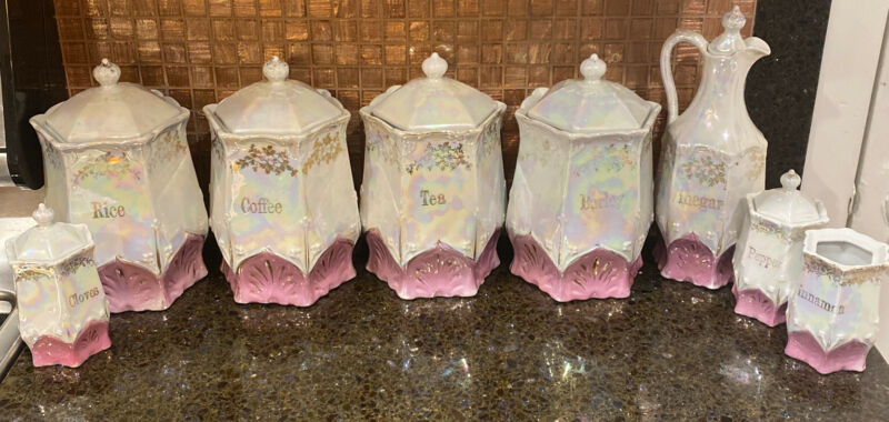 Antique Germany Lusterware Pink Gold Canister Spice Set 17 Pcs
