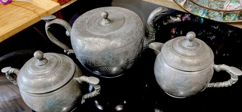 CHIINA KUT HING SWATOW PEWTER TEA SET