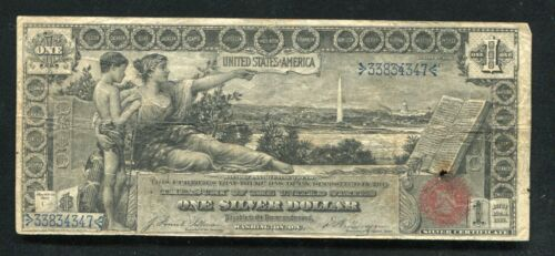 "FR. 224 1896 $1 ONE DOLLAR ""EDUCATIONAL"" SILVER CERTIFICATE CURRENCY NOTE (F)"