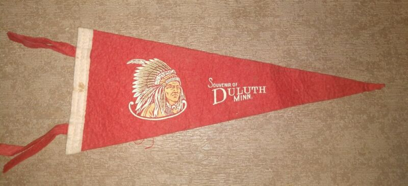 "Vtg Souvenir of Duluth Minn. Minnesota Indian Chief Felt Pennant Original 12"""